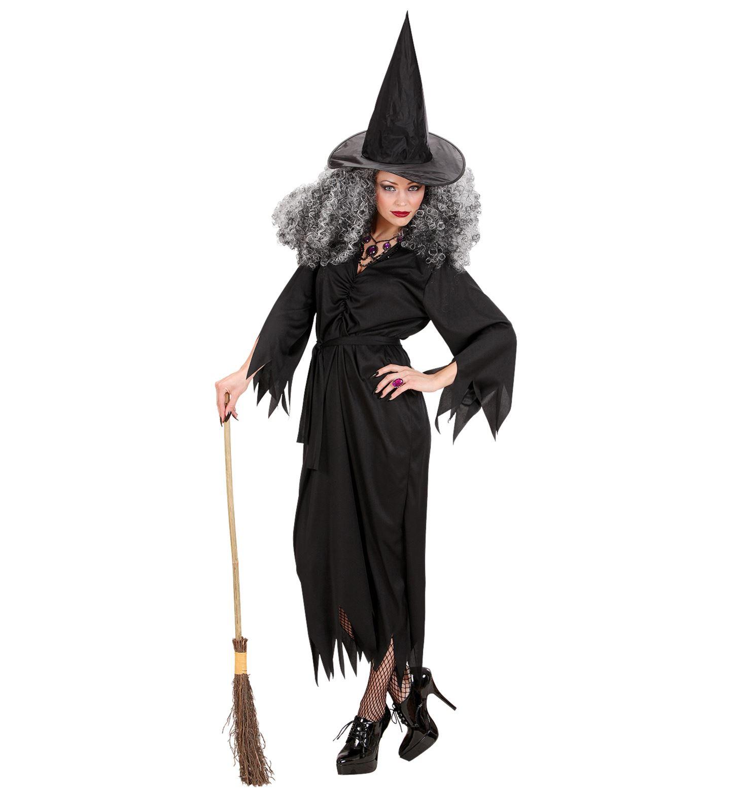 Hexen Kostüm, Gürtel+ Hut, Hexenkleid Damen schwarz S, M , L