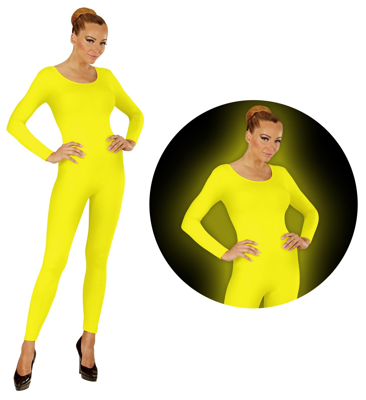 c4e2df4ee23f NEON GELB Body Einteiler Jumpsuit Sport Tanz Kostüm Damen   eBay