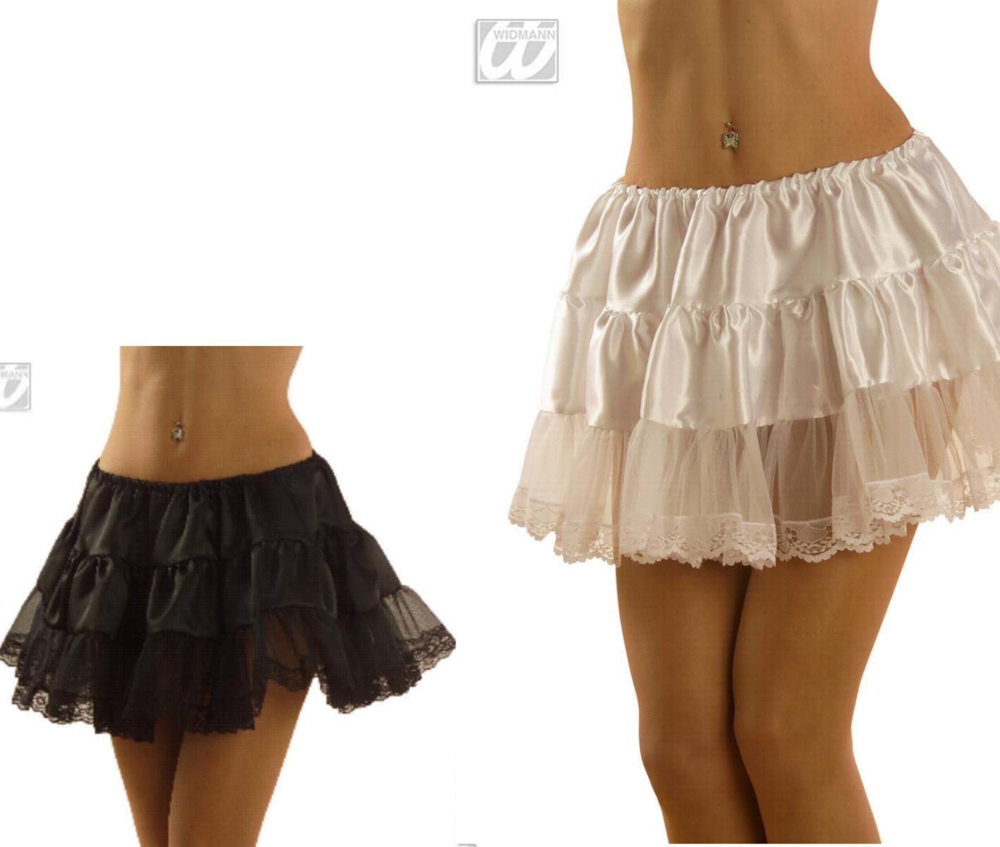 Satin Petticoat Unterrock, kurz 32cm, Spitzenrand, weiß u. schwarz 3362