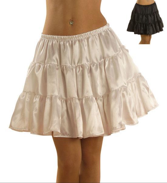 SATIN  Petticoat,Unterrock, kurz ohne Spitze, Länge 40cm, weiß o schwarz 3364