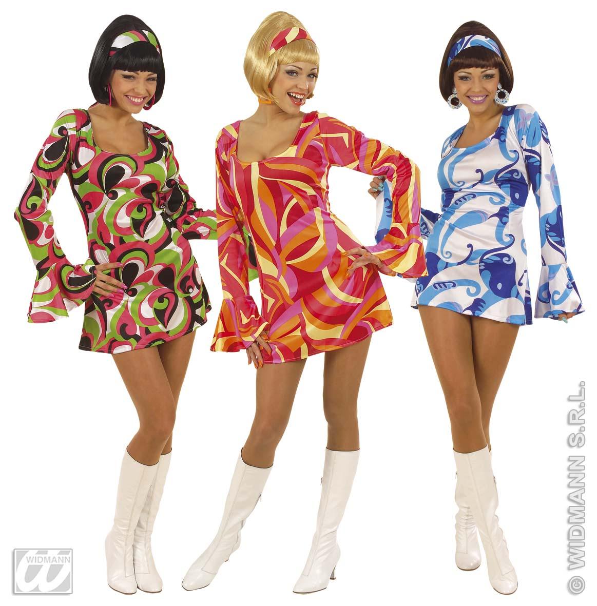 Detalles De 2 Piezas Década De Los 70 Vestido Hippiemini Traje Corto Mujer 36 38 40 42