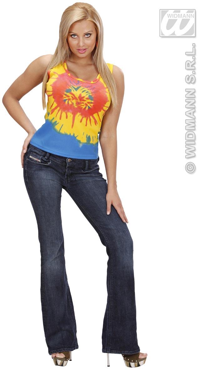 70er Jahre Hippie T-Shirt, Disco Batik-Shirt, S 36-38 Damen Mottoparty