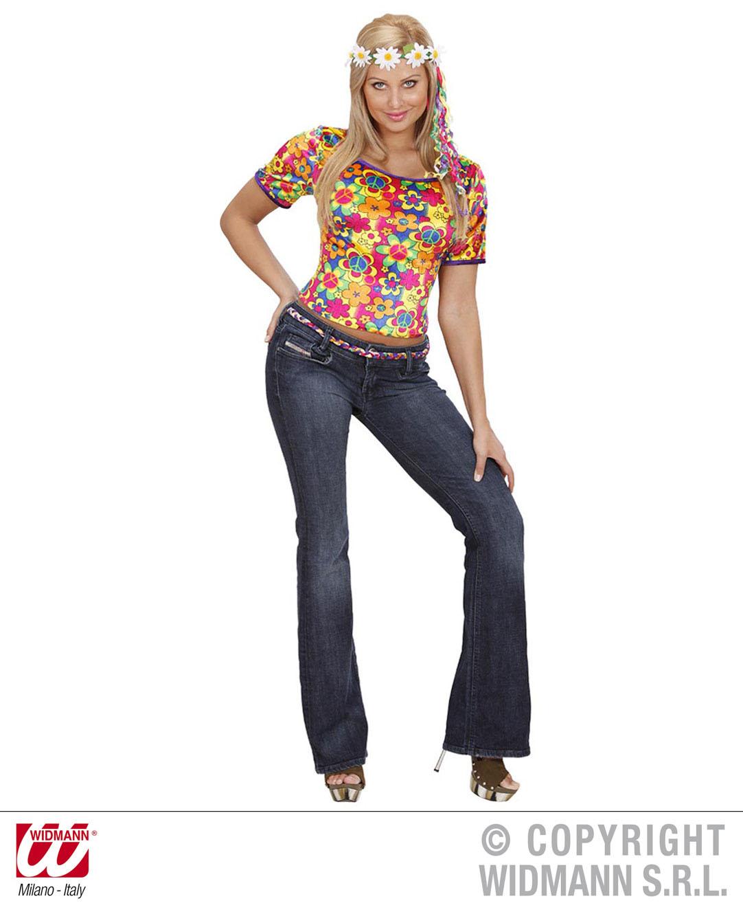 70er Hippie T-Shirt, Woodstock, bunt,  Frau, S -M, L- XL  7324