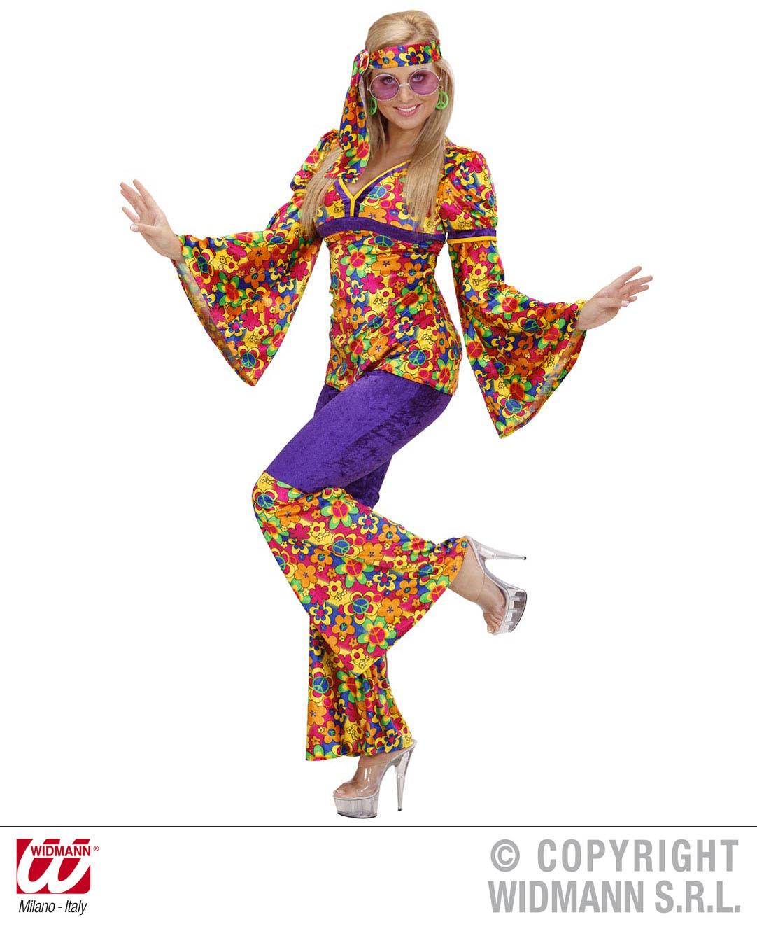 70er Woodstock Hippie Kostüm 3tlg. Frau, S -36-38, M -38-40, L -40-42, XL 42-44