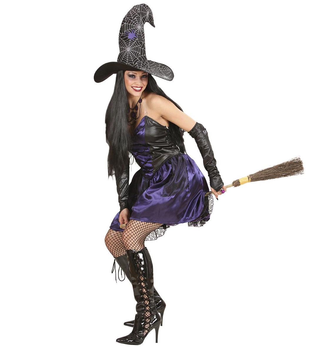 3 tlg Hexen Kostüm, Kleid, Hut, Handschuhe, Damen Gr.36 +Gratisgeschenk