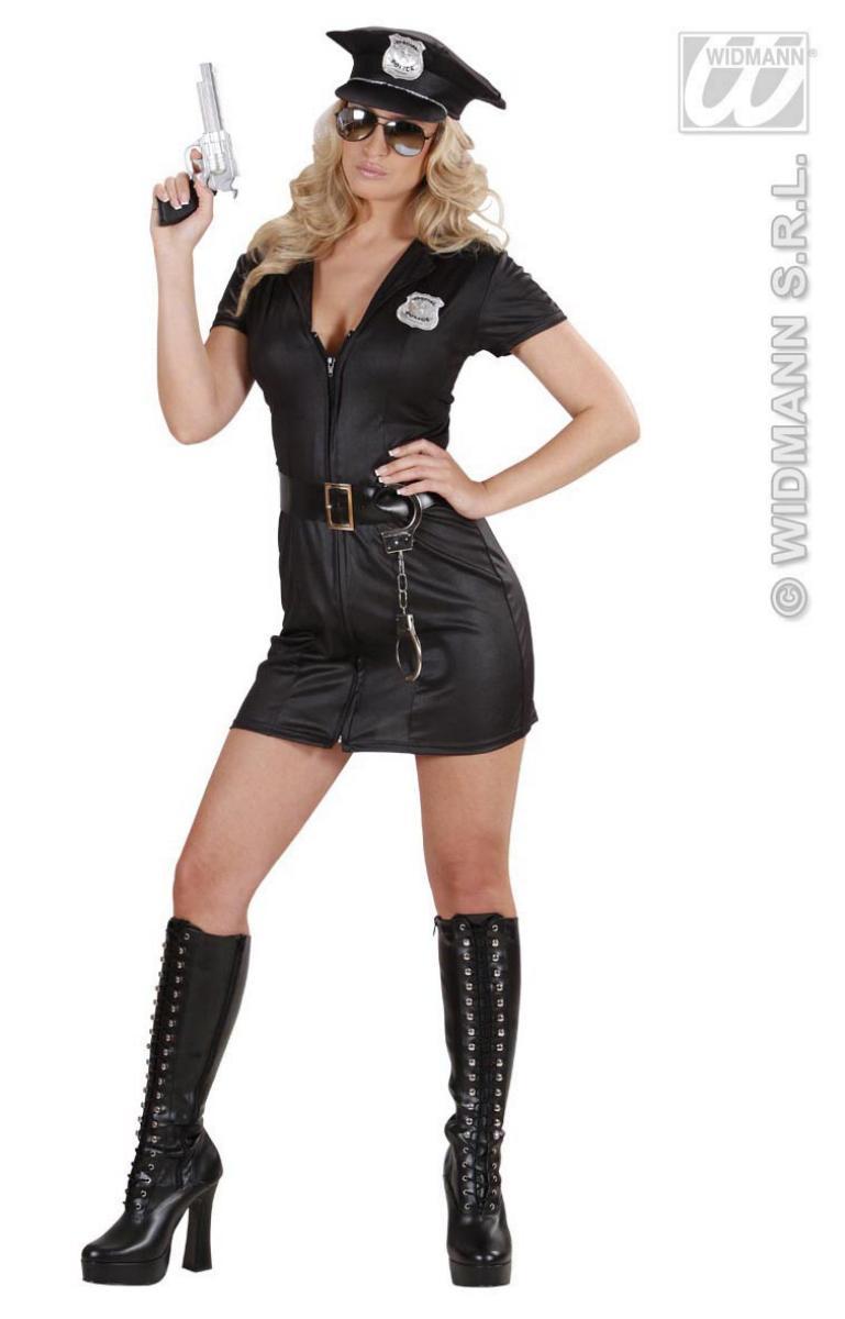 Polizisten, Sexy Polizei- Cop  Kostüm Kleid, schwarz, Gr. S u. M
