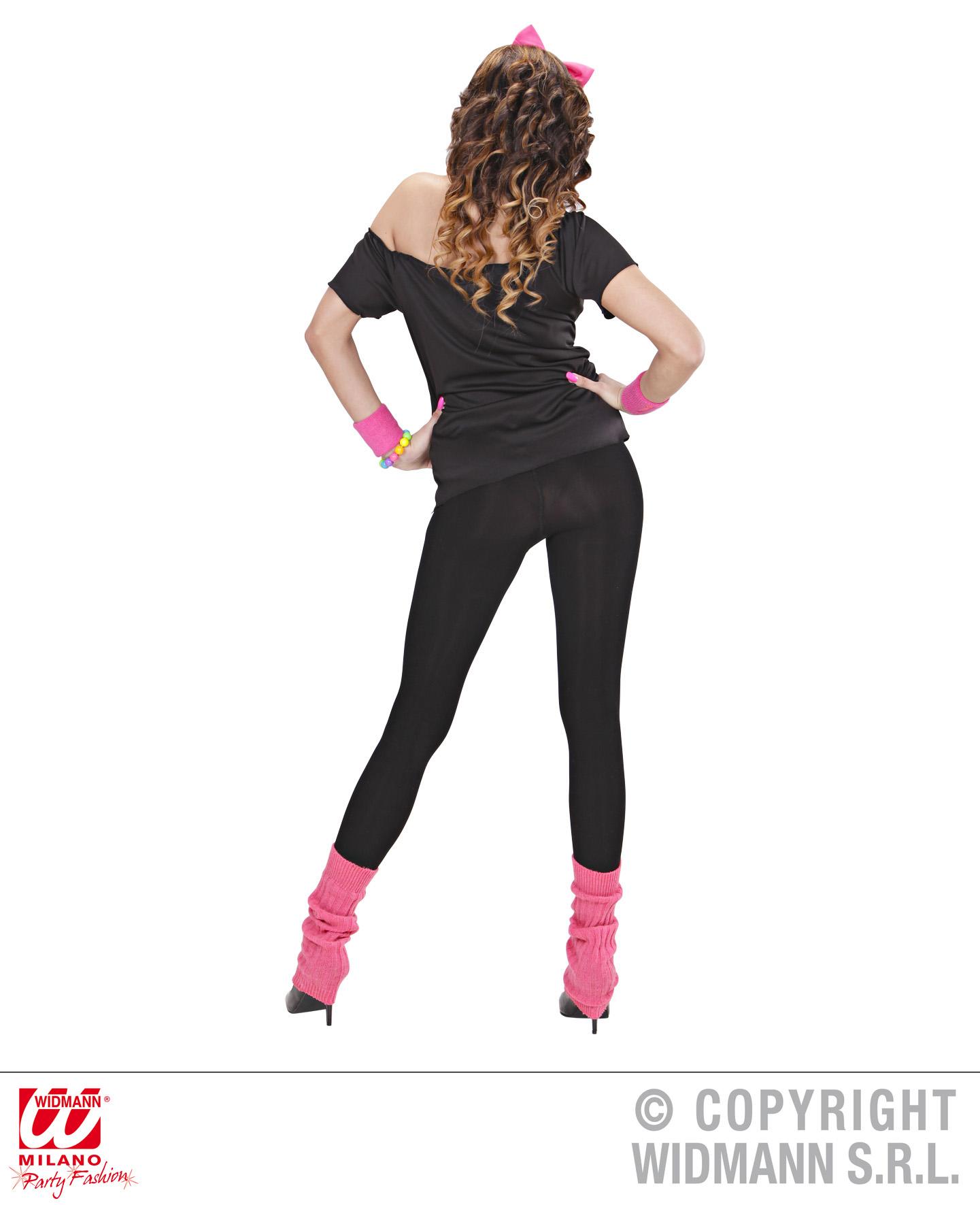 80er Jahre T-Shirt, Haarreif u. Stulpen pink schwarz 36-40,  9884