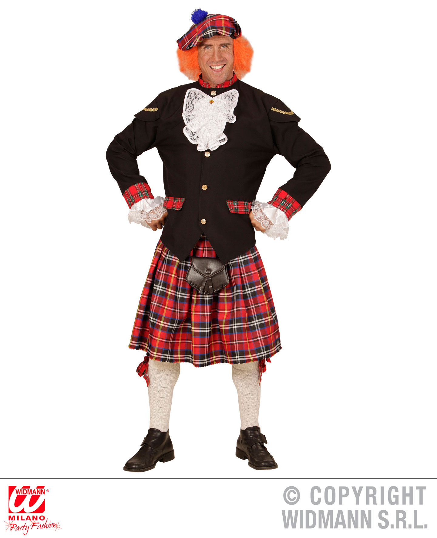 3 tlg. Kilt Kutte Schottenrock mit Kappe und Haar, Karneval Herren