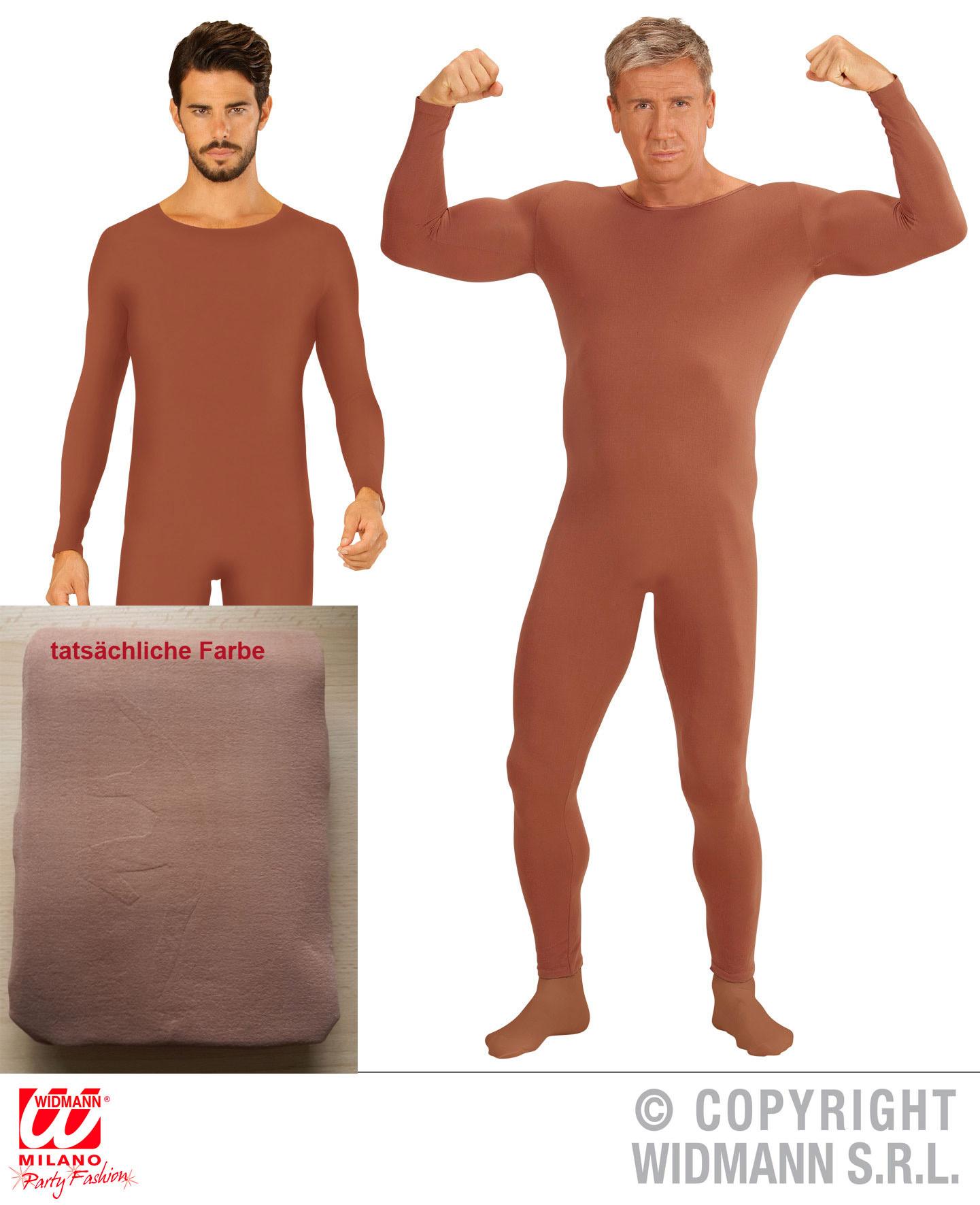 Einteiler, Overall, Body, Langarm hautfarben,Tanz Sport braun Herren, M, L, XL