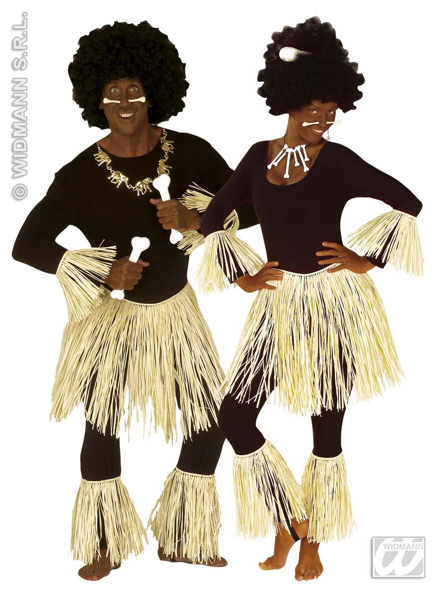 Afrika,5-tlg.Zulu Set, Bastrock Arm- u. Beinkleid Kostüm,Karneval 3374