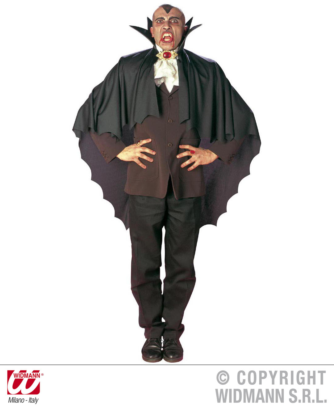Vampir Umhang, Cape,schwarz m. Kragen Herren u. Kinder 3582