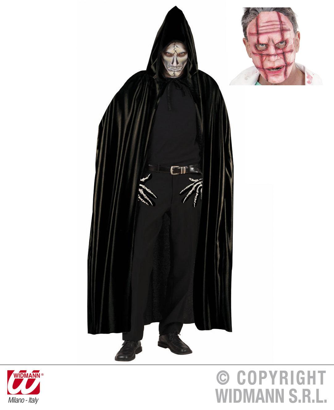 2 tlg. Dracula Vampir Umhang schwarz, Kapuze + blutige Maske Herren