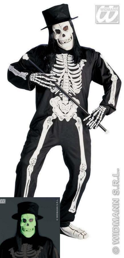Skelett Kostüm,Zylinder, Haare, Maske, Handschuhe, S. M, L Halloween 3988