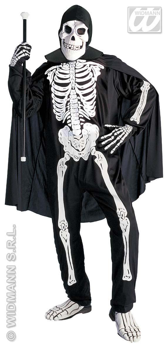 Skelett Kostüm 4 tlg, Overall, Umhang ,Handschuhe, Maske  M u.L