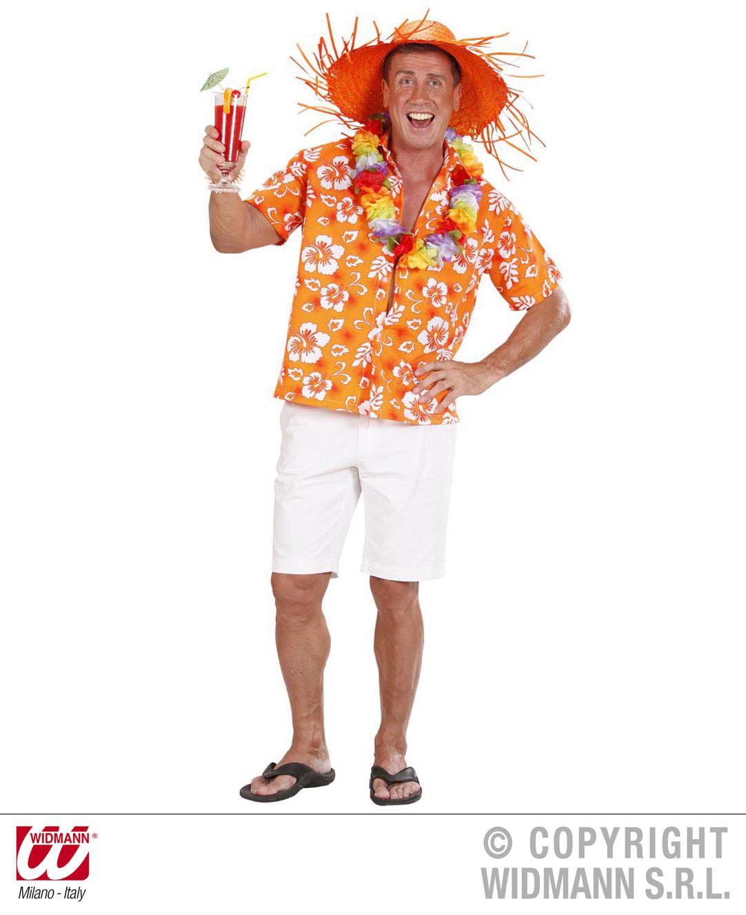 Hawaii Hemd, Kurzarm, Hibiskus, Mottoparty gelb, grün, orange Mann Gr.M/L