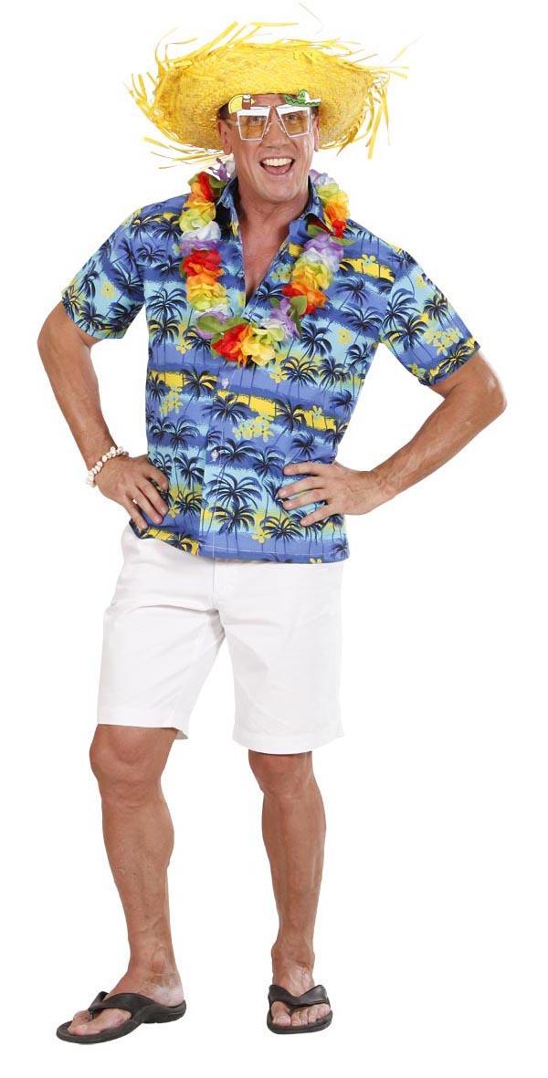 Hawaii Hemd, Kurzarm, blau bunt Palmen, Herren  Gr. M + L