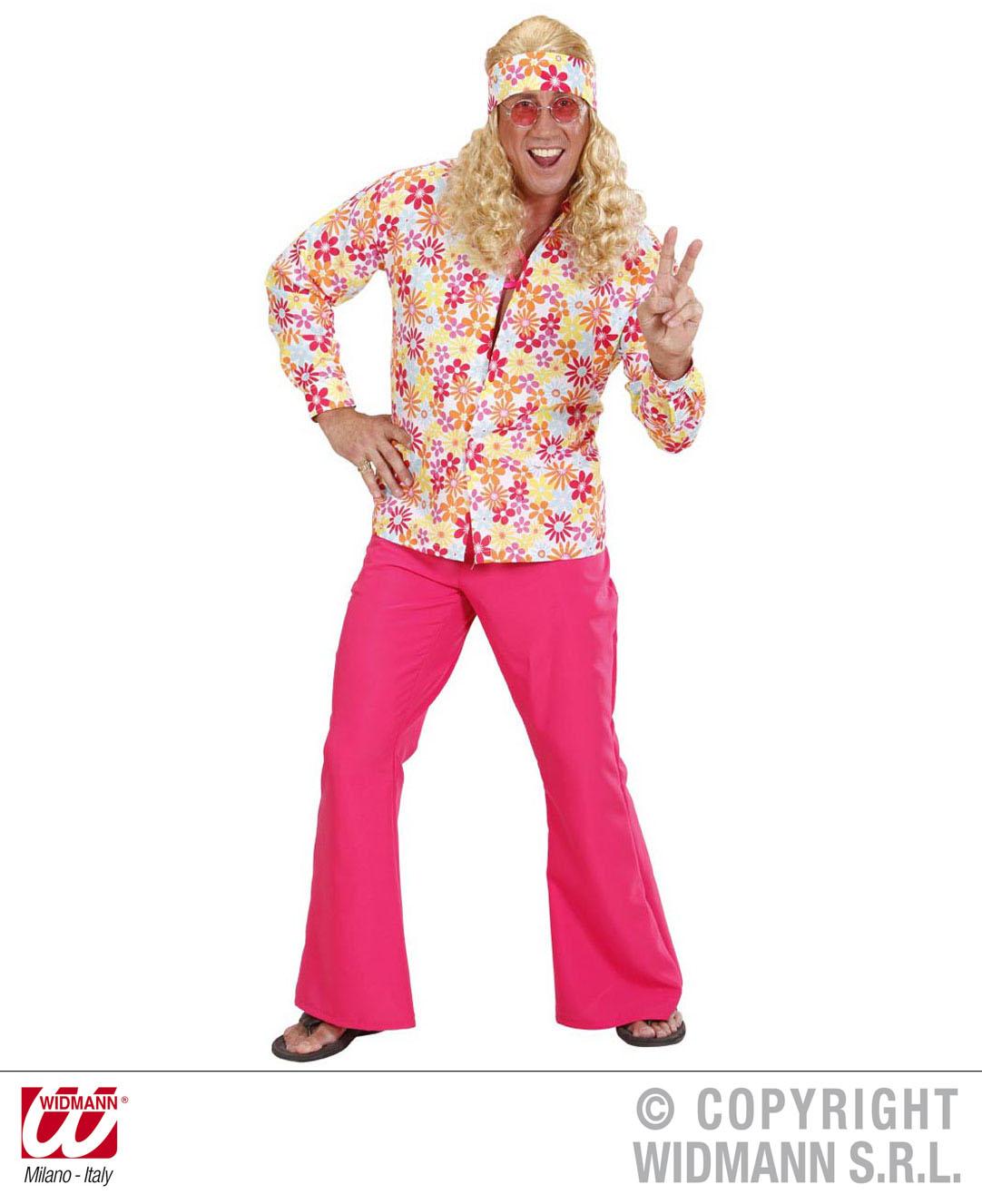 70er -80er Hippie Shirt, Hawaii Hemd ,Flower,  Disco Mann Gr. M + L  7474
