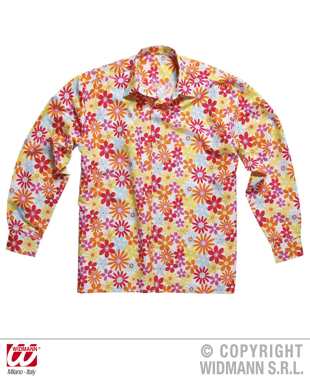 70er -80er Hippie Shirt, Hawaii Hemd ,Flower,  Disco Mann Gr. M + L  7474