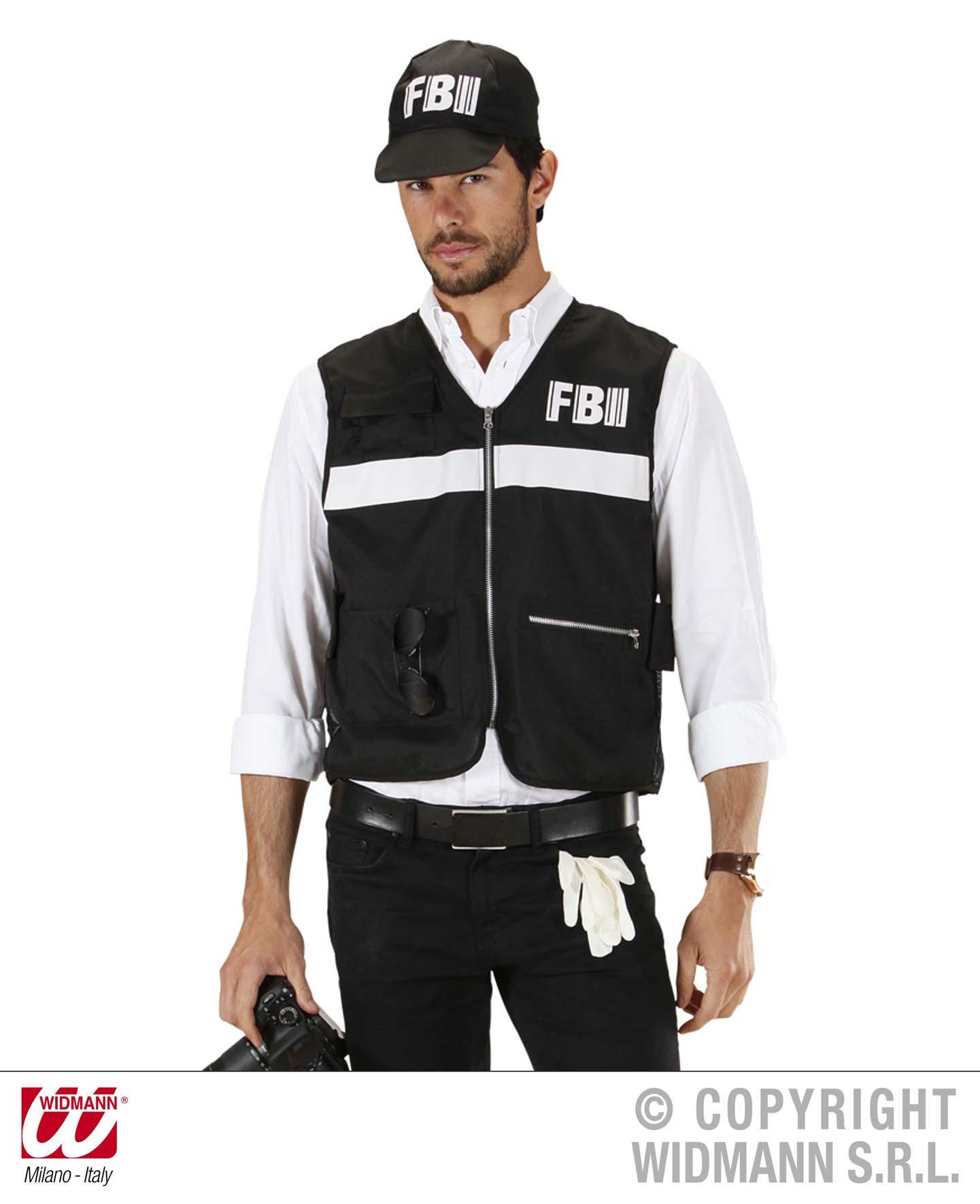 2 tlg. FBI Weste + Cap Kostüm schwarz Herren M/L u. XL,   758