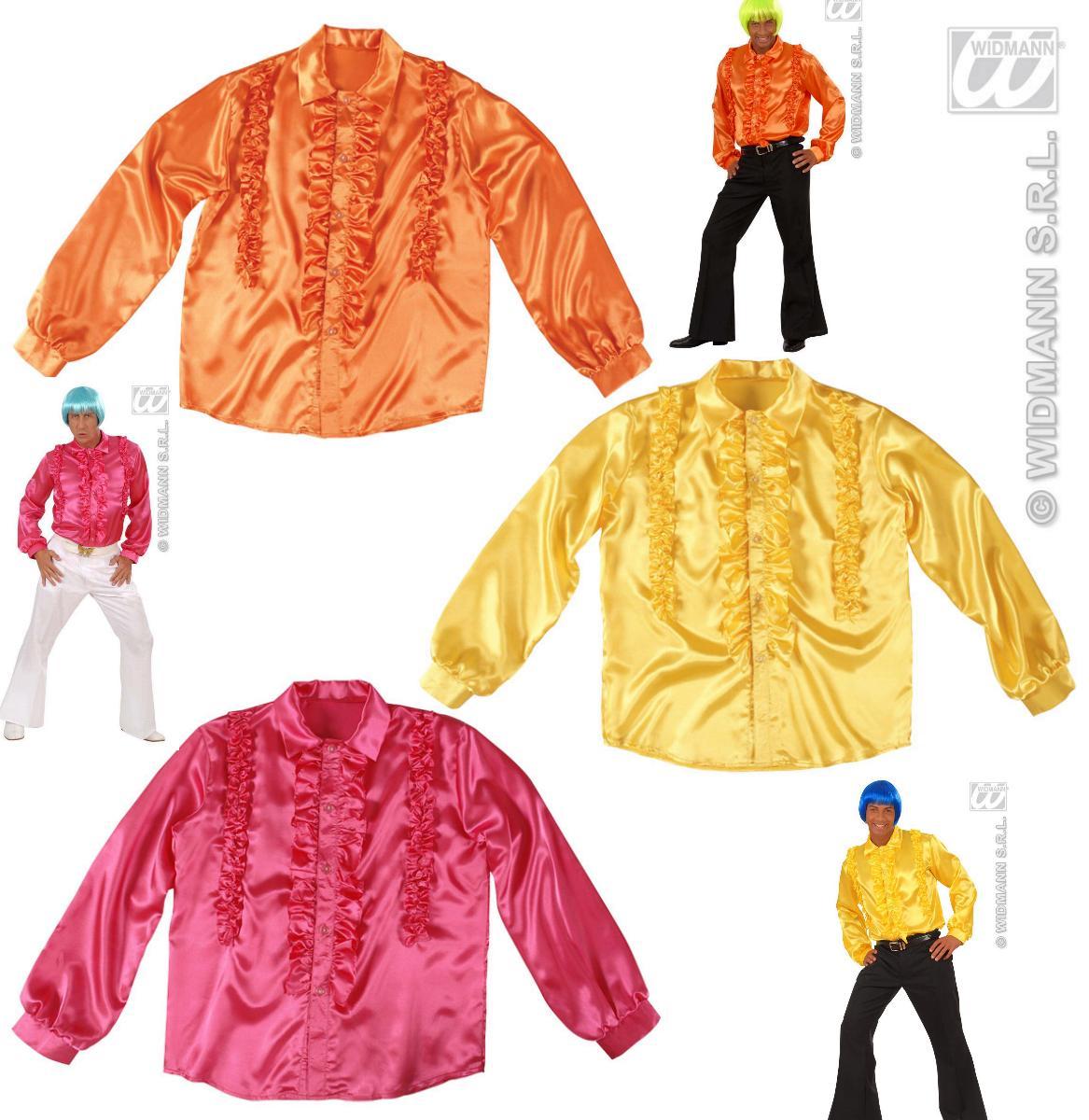 70er -80er Jahre Hippie Disco Shirt, Hemd SATIN, Herren, verschiedene Farben