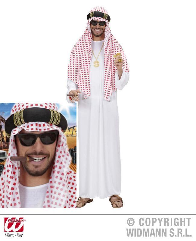 3 tlg Scheich Araber Kostüm weiß, Turban rot-weiß, M/L, XL 8904
