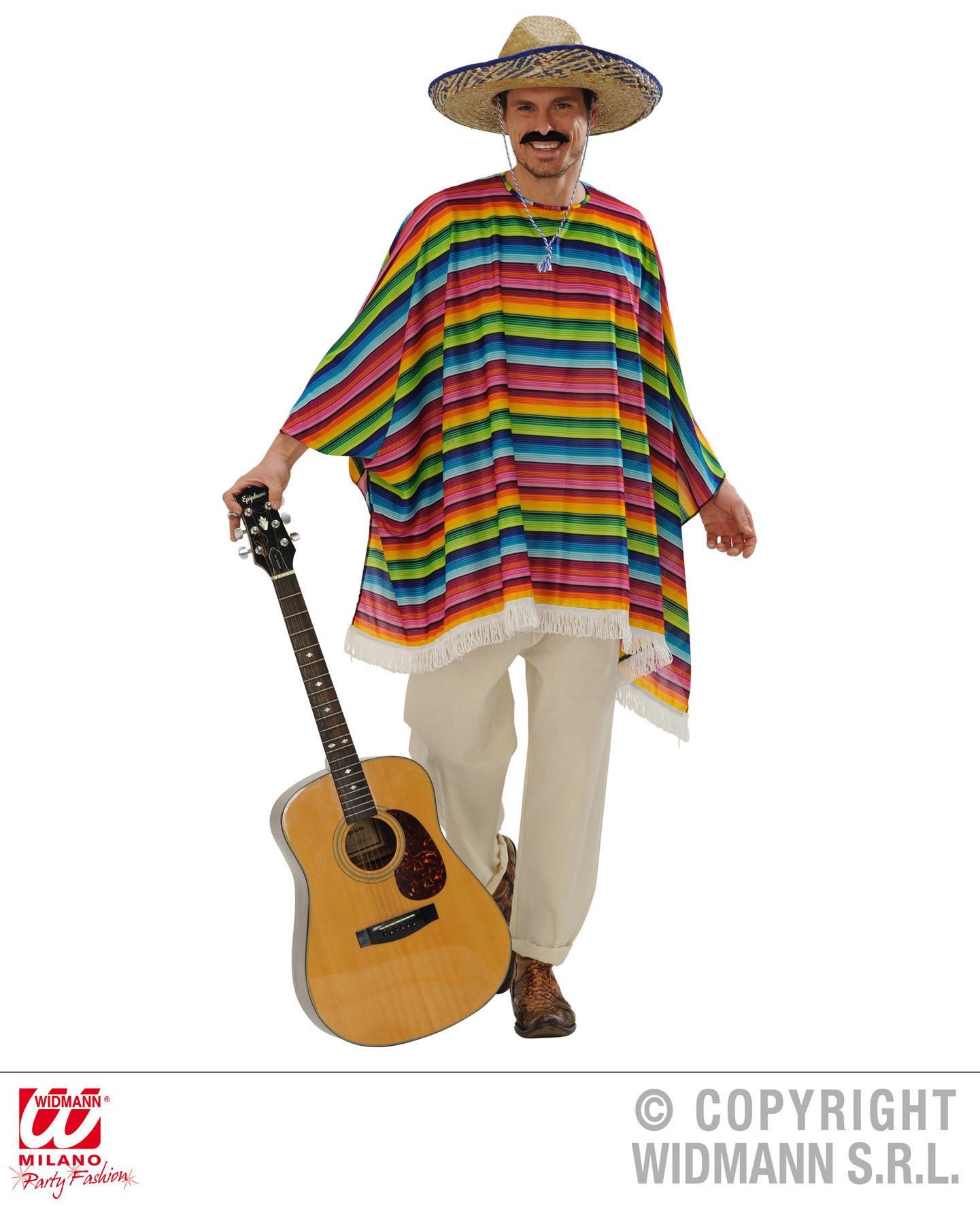 2 tlg. Mexikaner Kostüm, Poncho + Sombrero Karneval Mottoparty 9543