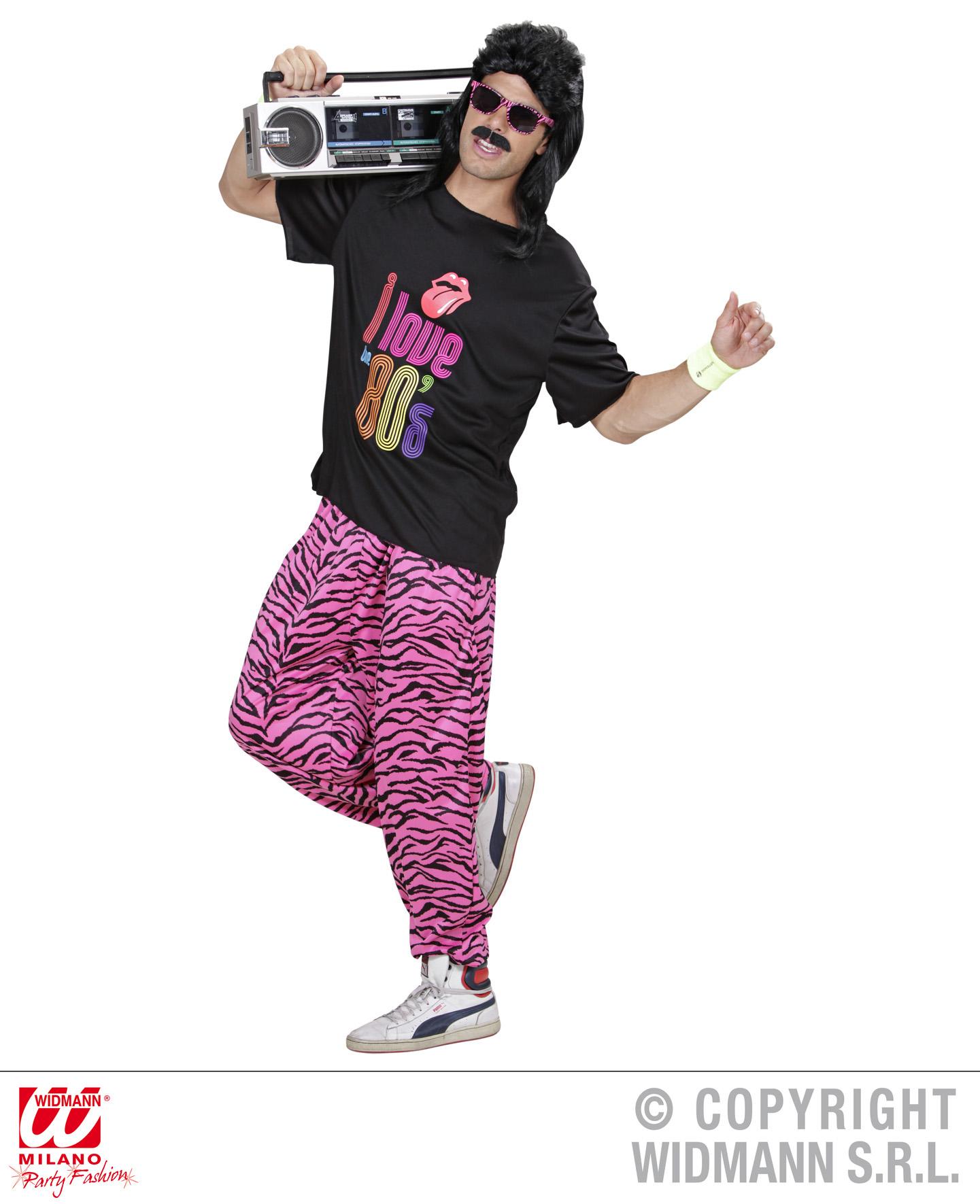 80er 90er Jogginghose Traningshose pink-schwarz zebra M/L, L/XL