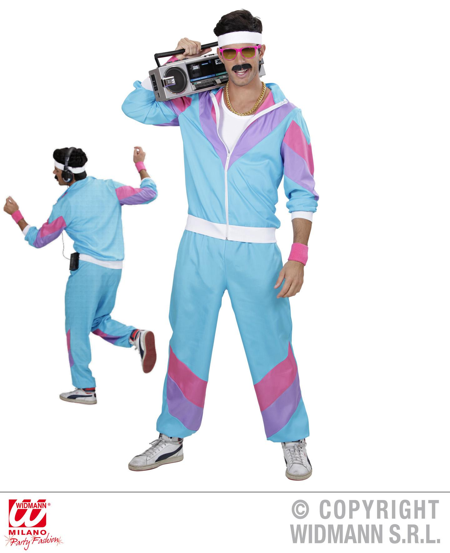 80er 90er Jogginganzug blau-weiss Kostüm, Mottoparty S,  M, L, XL, XXL
