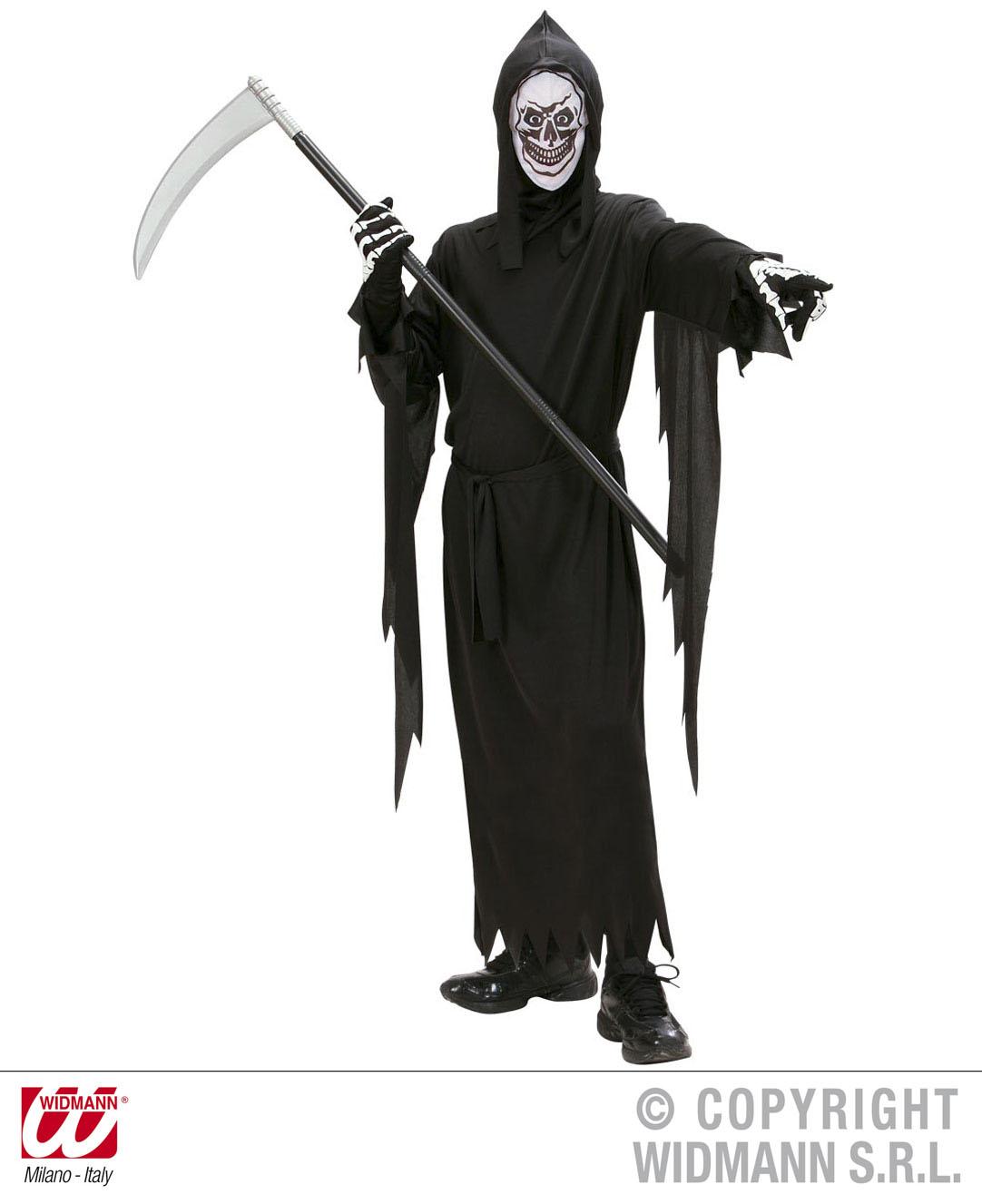 Sensenmann Tod, Kostüm m.Maskenkapuze, Gürtel, Kinder Halloween 0252