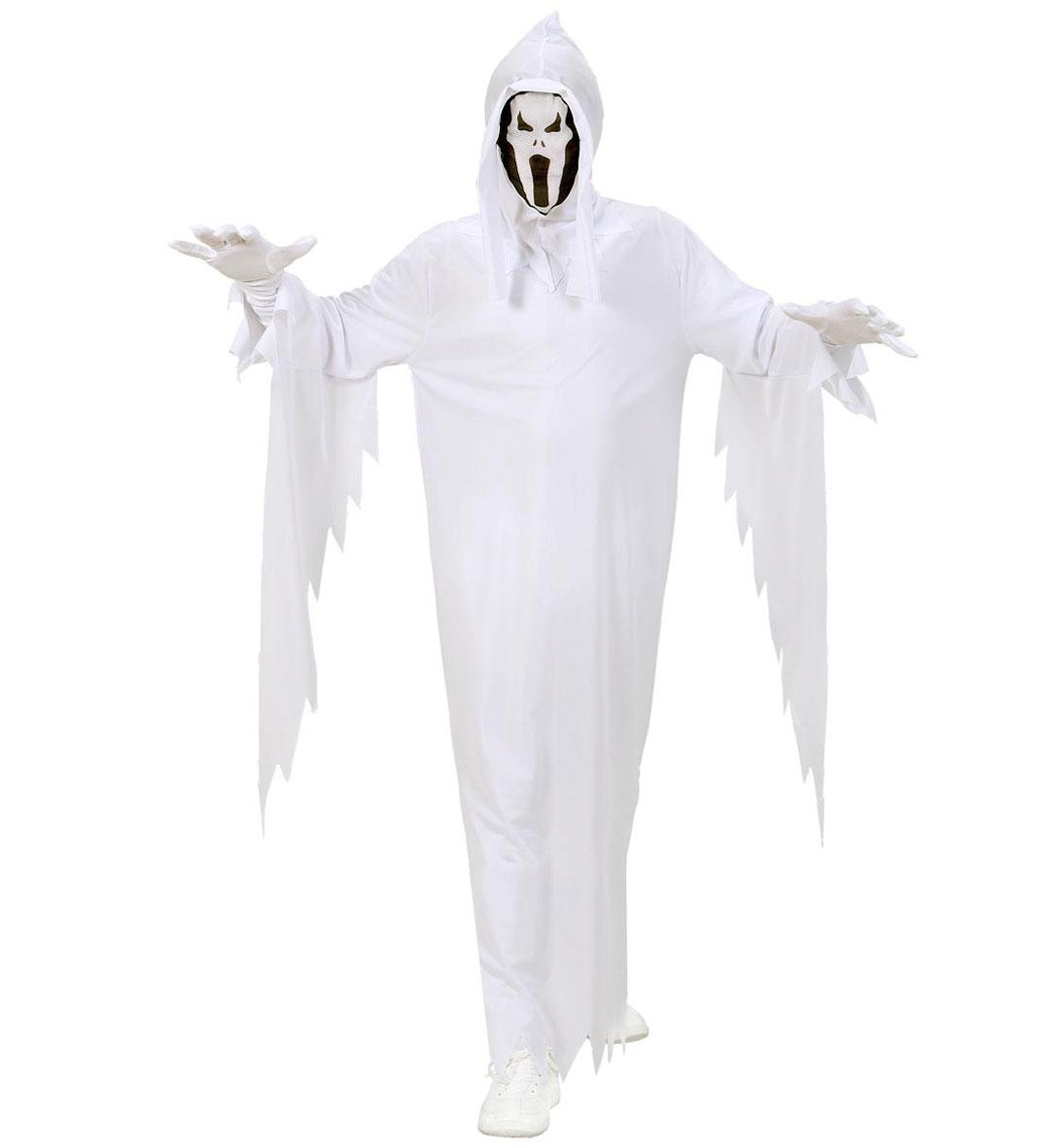 GEIST Kostüm, Kinder weiß mit Maskenkapuze + Gürtel, 128,140,158