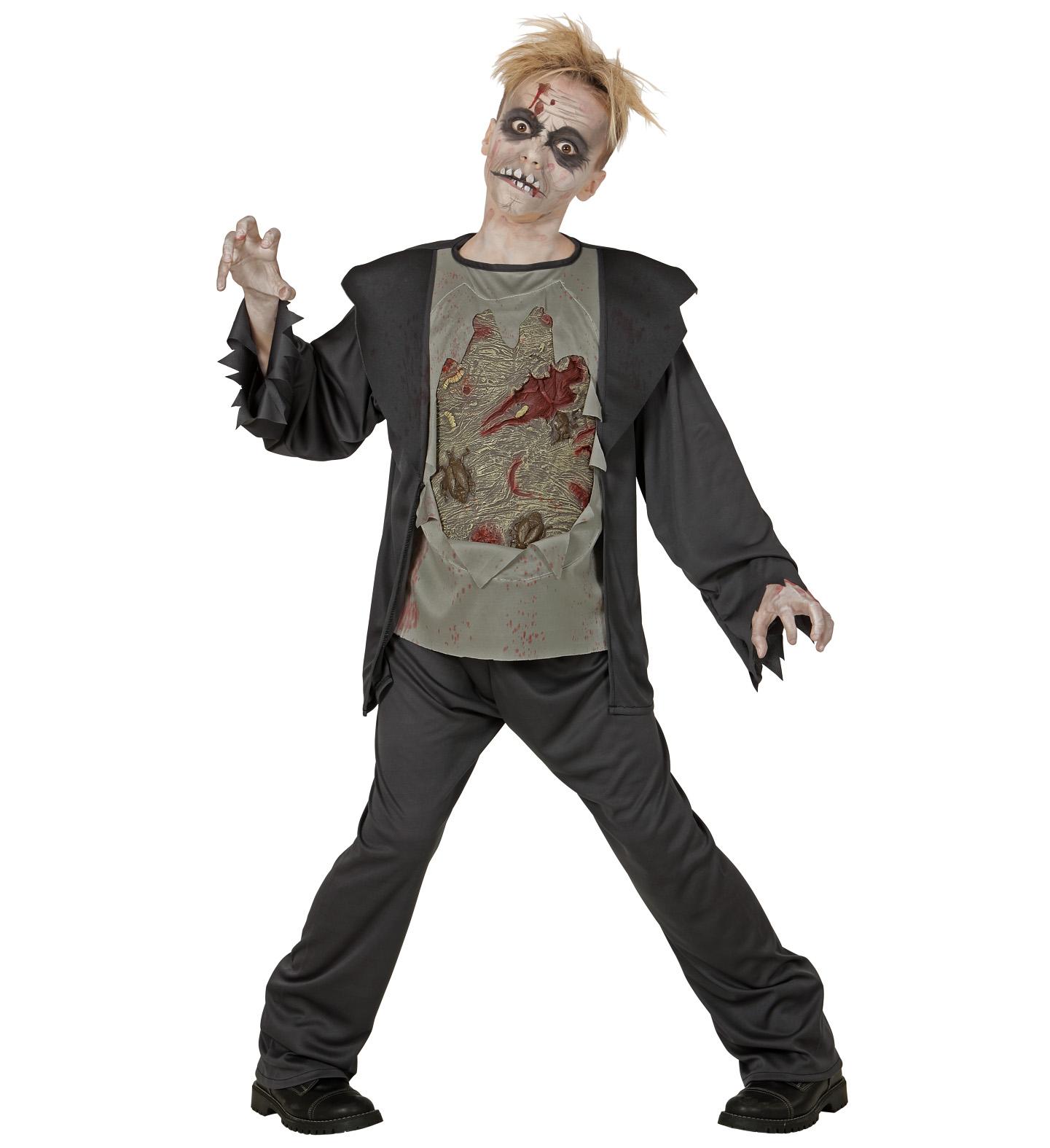 2tlg. Zombie Kostüm Kinder Halloween Horror Untoter 128, 140, 158, 164
