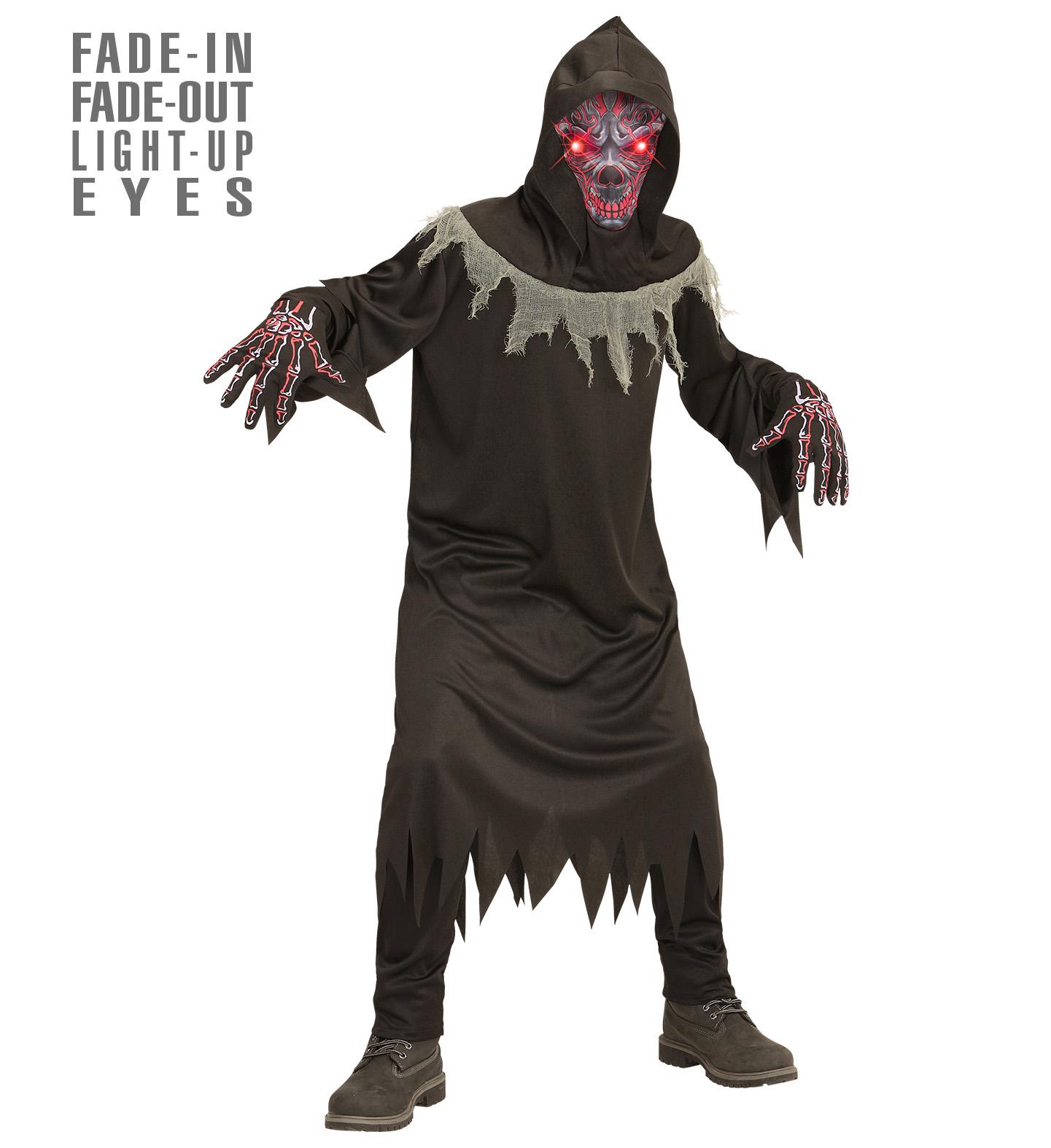 Dämone Teufel 3 tlg. Kostüm Kinder mit leuchtenden Augen Halloween