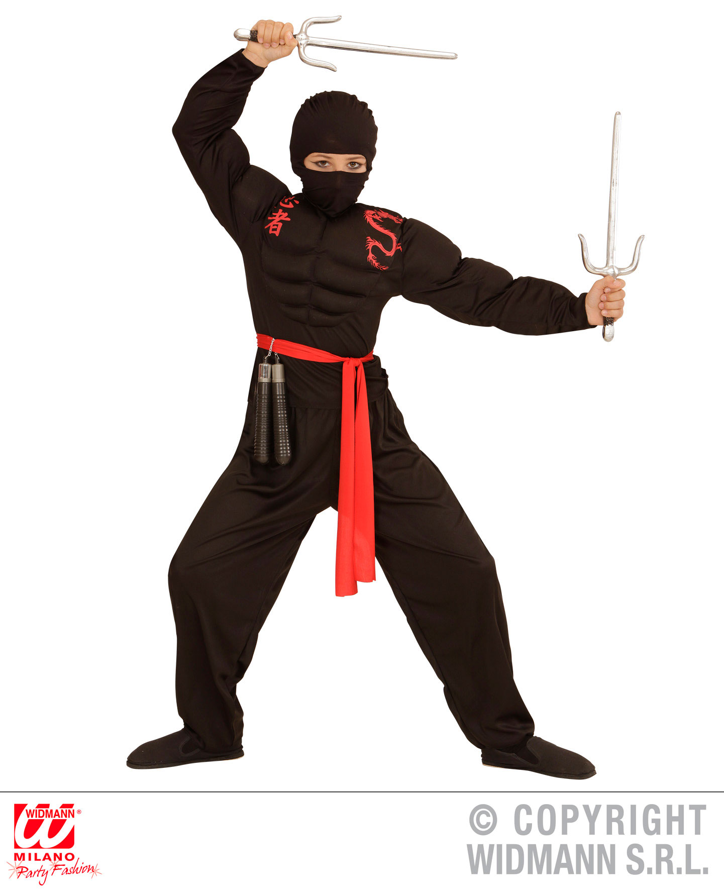 4 tlg. Ninja Kostüm, Samurai, rot schwarz, Muskelshirt Kinder Karneval