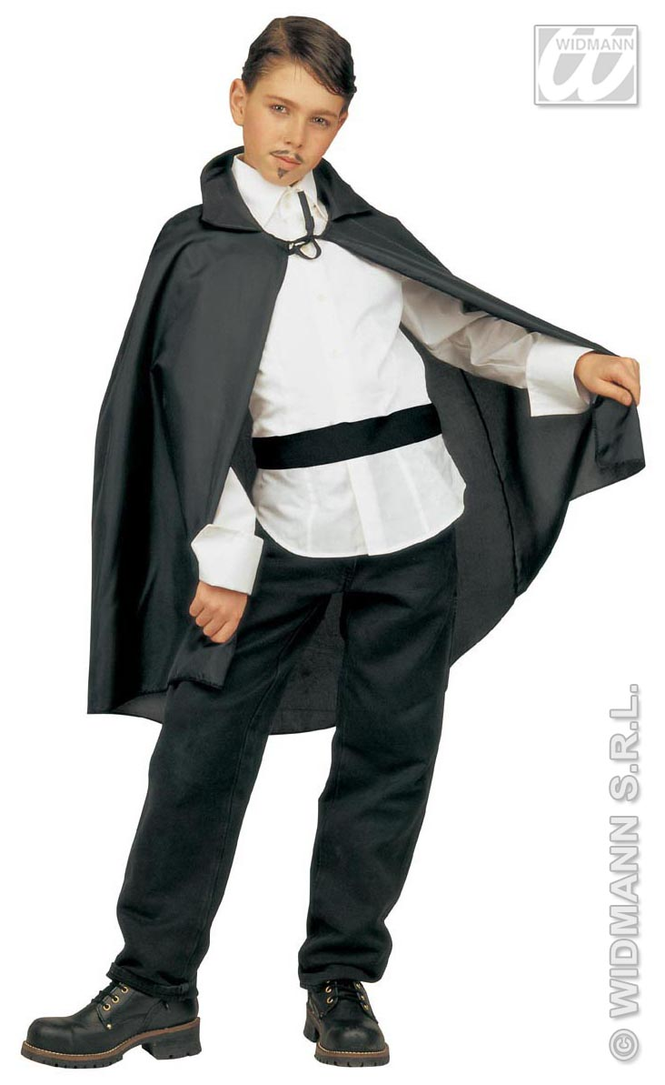 Dracula Umhang,Teufel Vampir, schwarz 90 cm  Kinder Teanager  3580