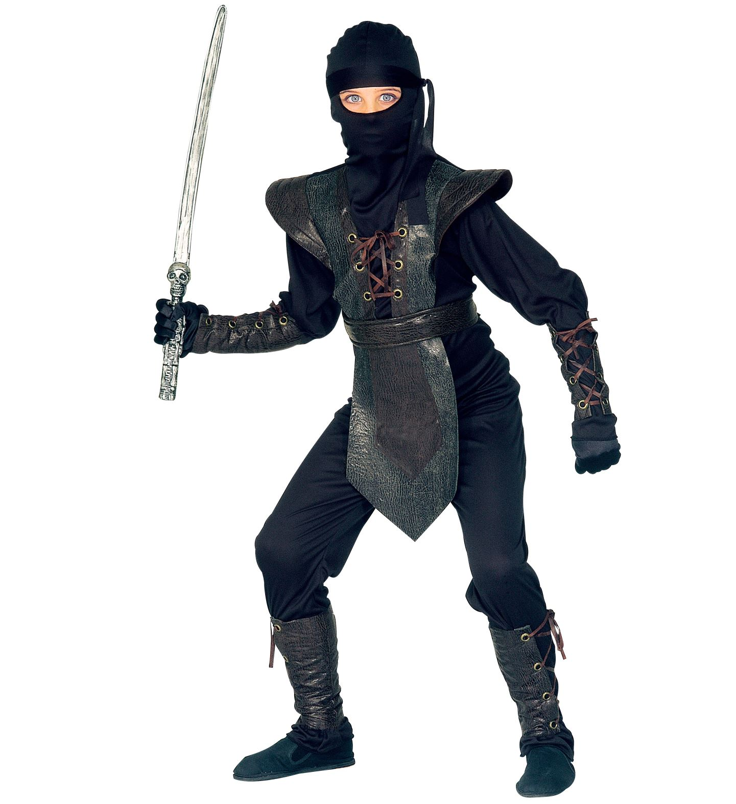 6 tlg.Ninja Kostüm,Kinder,Jungen schwarz,Brustpanzer Deluxe128,140,158