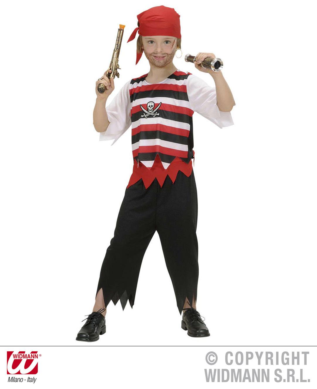 Piratenkostüm Pirat, KInder Karneval Gr.128, 140, 158 + rotem Kopftuch
