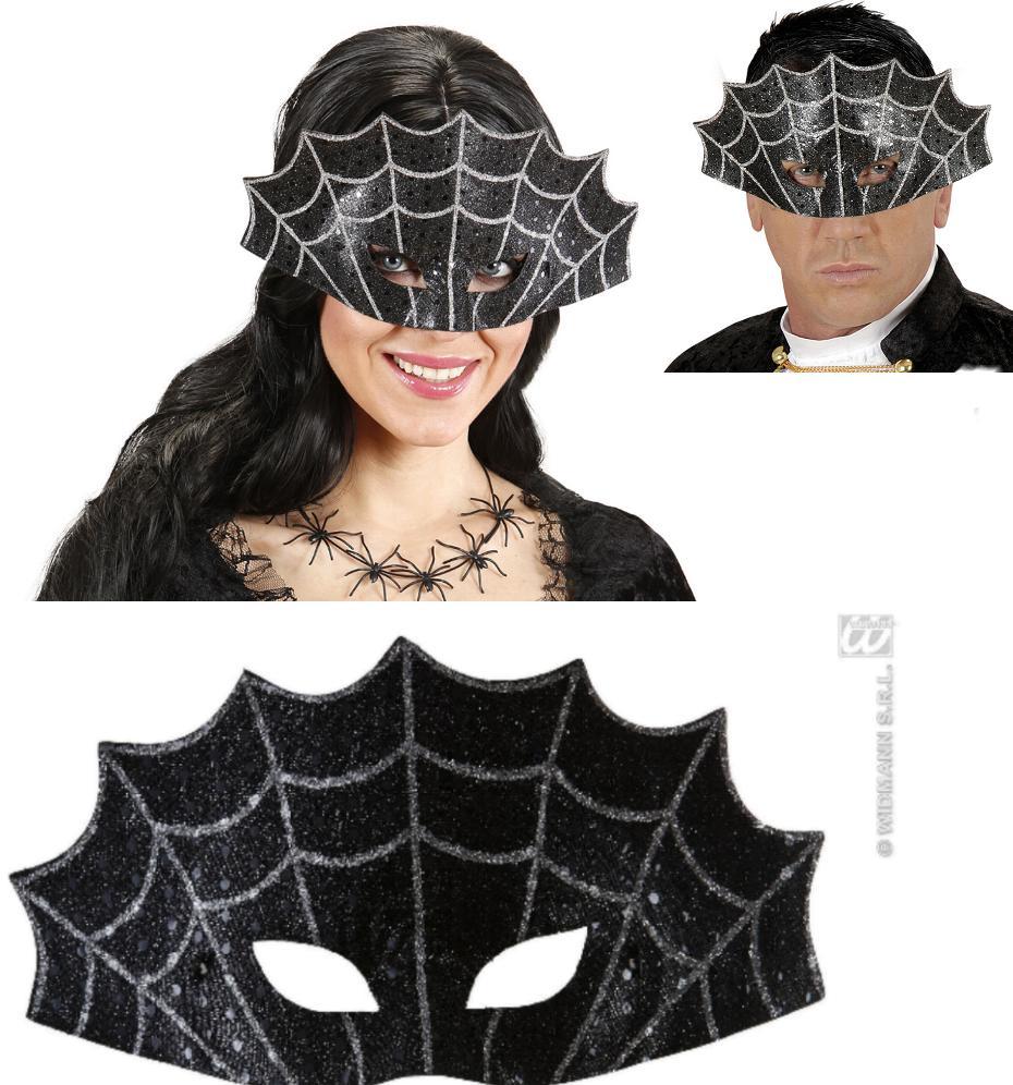 Augenmaske Spinnennetz,Maske silber-schwarz Halloween Gothic Damen Herren