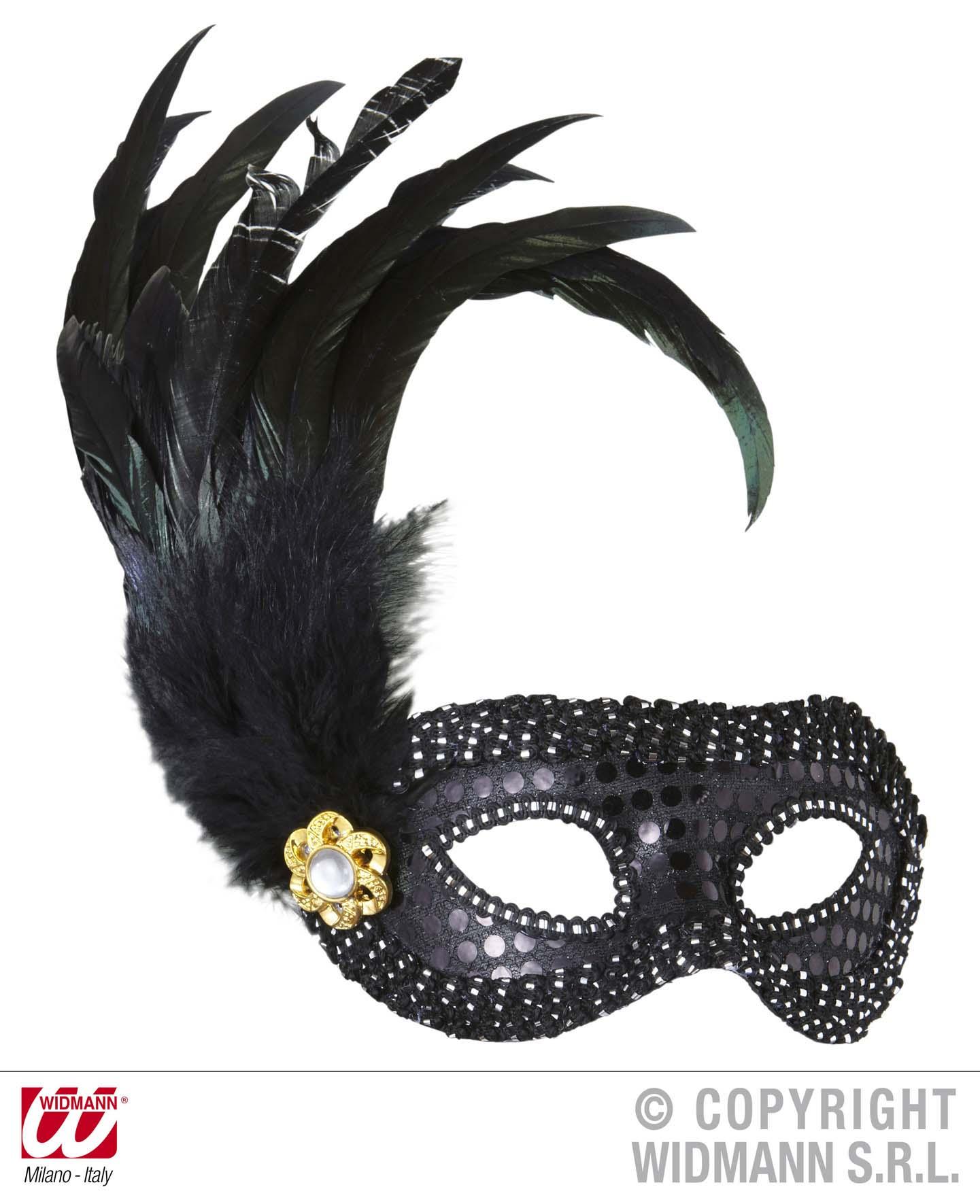 Augen Maske, schwarz silber Verzierung m. Feder + Pailletten1793