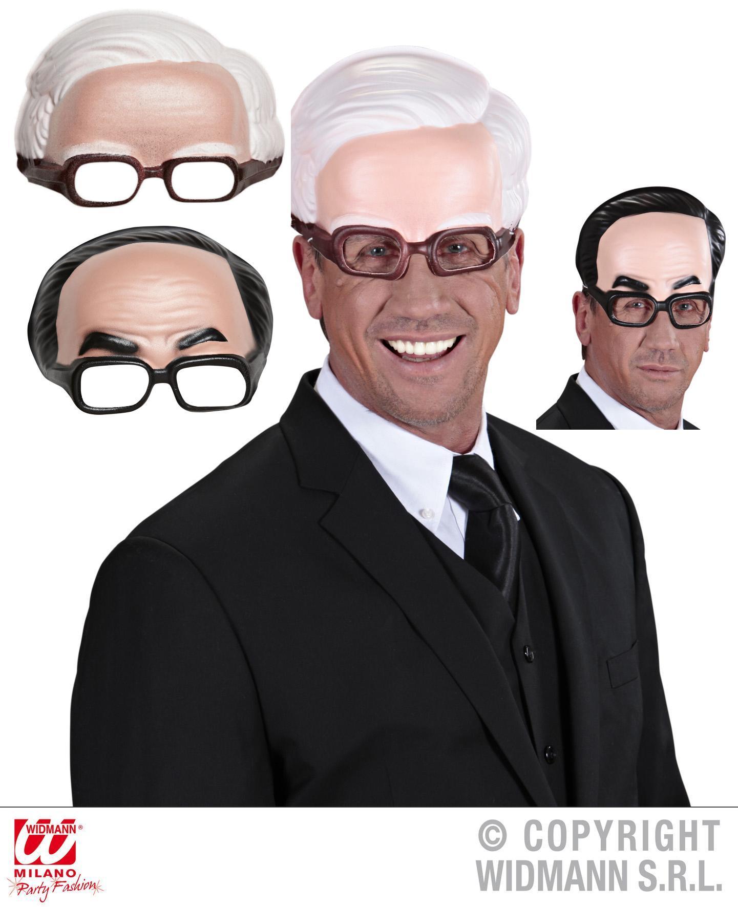 Halbmaske ohne Kinn, weiße, schwarze Haare, Brille Opa Herren Karneval