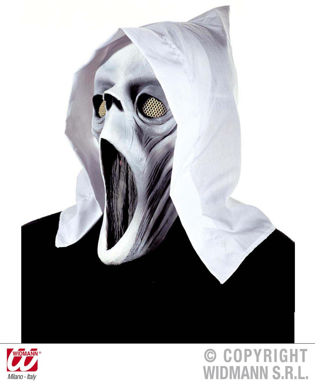 Scream MASKE + Kapuze weiss o. schwarz, Karneval, Halloween 4679