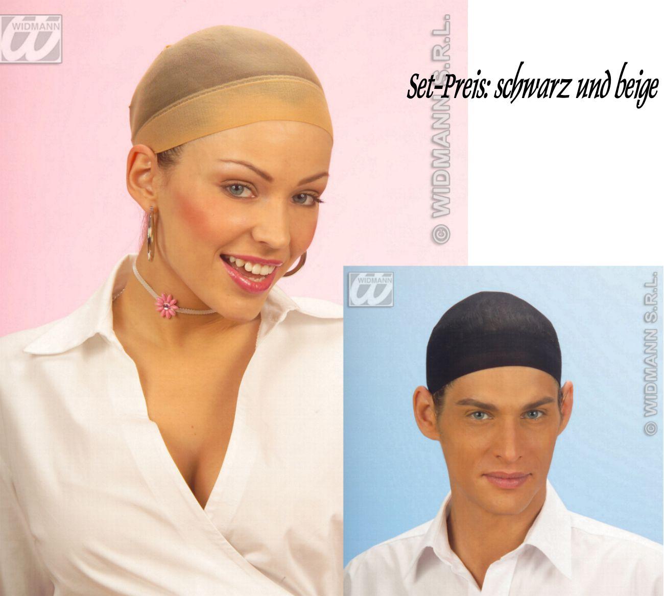 2 x Perücken- Haarnetze, Haarstrumpf, Haarnetz schwarz u beige