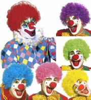 CLOWNSPERÜCKE Clown Locken Perücke Damen Herren pink,lila,gelb
