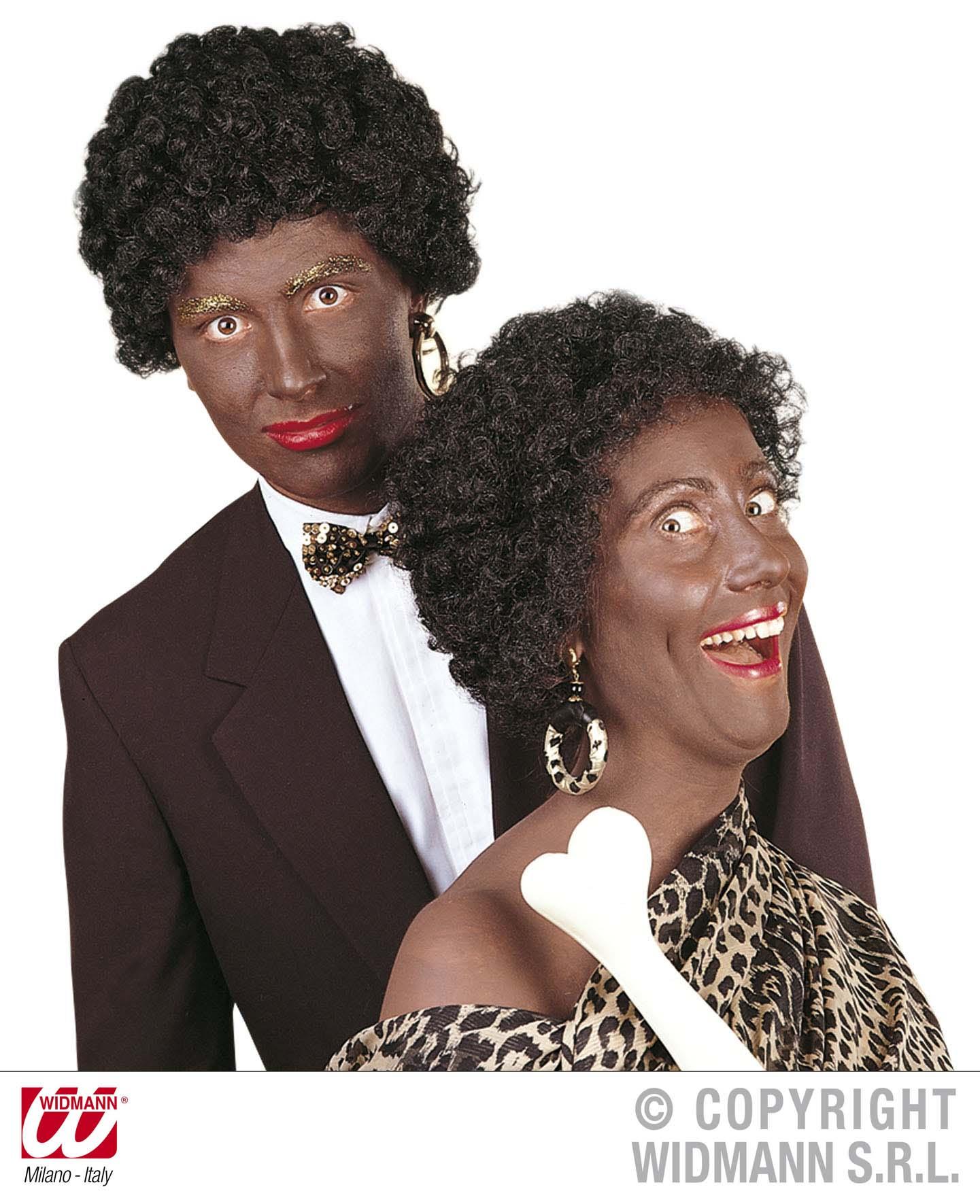 Afro, Neandertaler Perücke, kurz schwarz  Mann u. Frau
