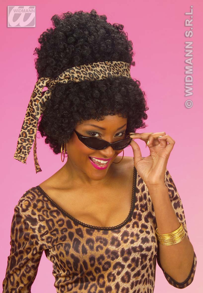 Afro, Locken Perücke, schwarz,+ Haarband u. Sonnenbrille, Karneval, Motto