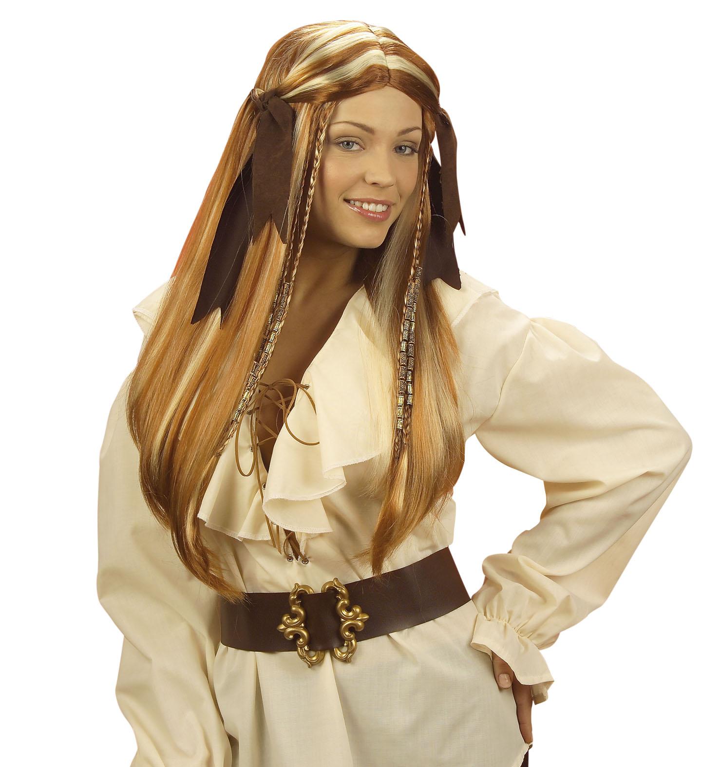 Piraten Perücke mit Zöpfen Piratenfrau braun lang Damen