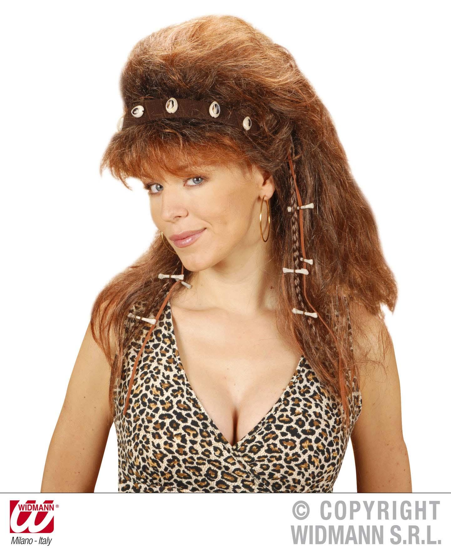 Neandertaler Perücke  Steinzeit Damen ink. Haarband braun