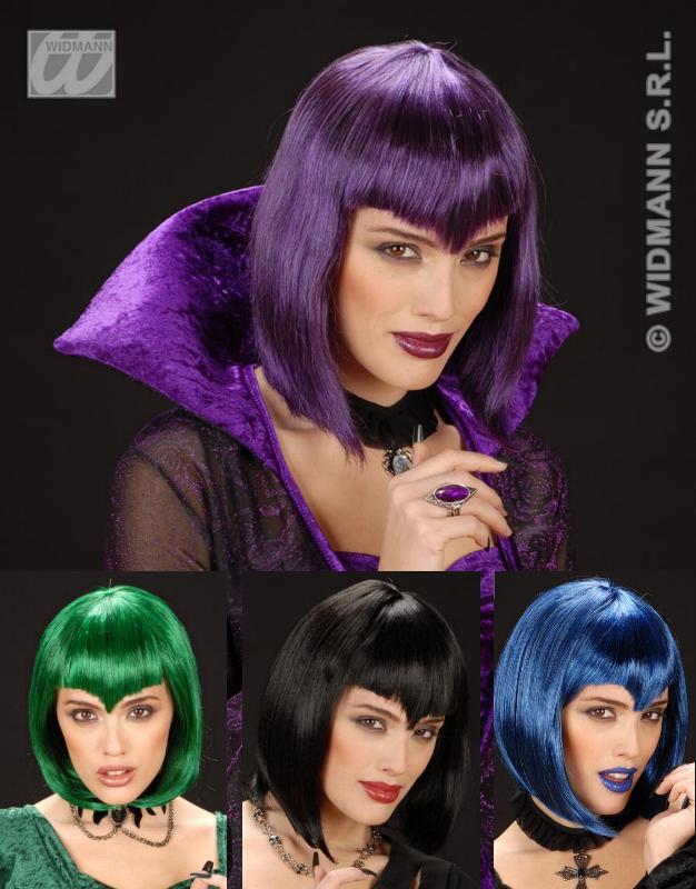 Gothic, Vampir, Hexen Perücke, schwarz,lila,blau, grün 097