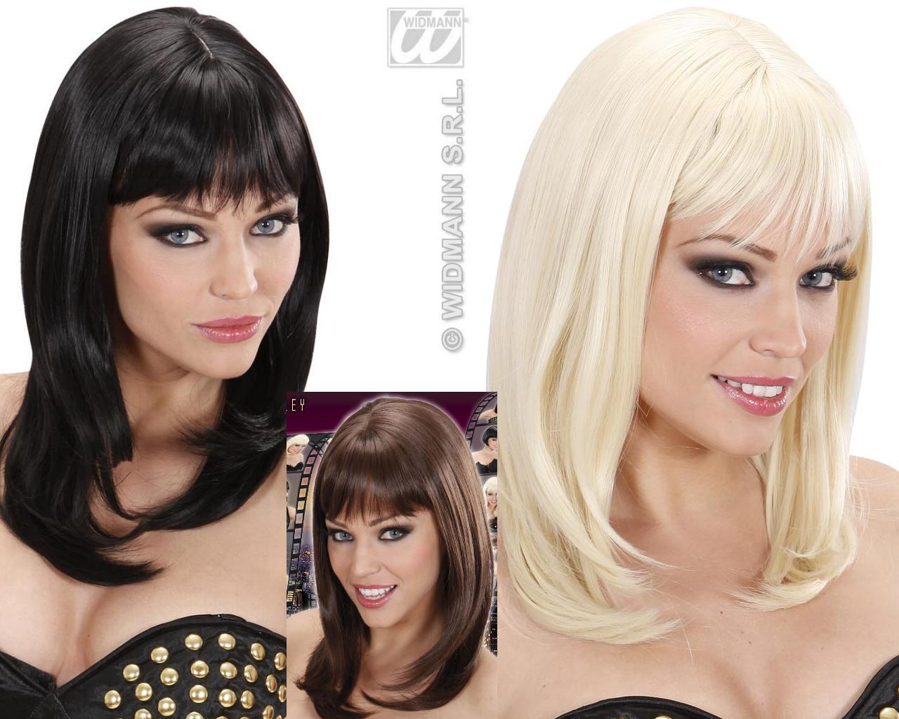 Perücke wie ECHTHAAR, Neuheit: glatt Schulterlang schwarz, blond, braun