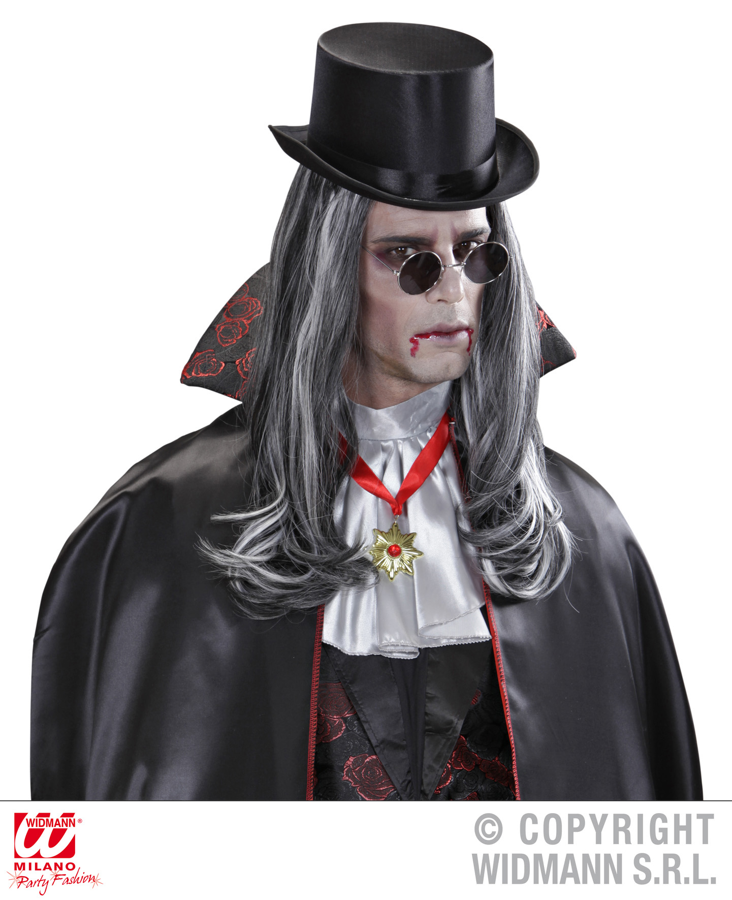 Perücke wie ECHTHAAR Herren, Vampir, grau-schwarz M9