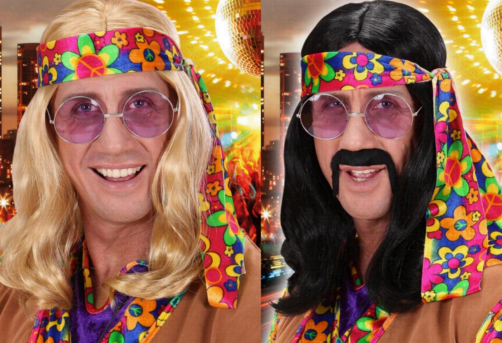 HIPPIE Perücke 70er Mann, blond, schwarz, Karneval  6495